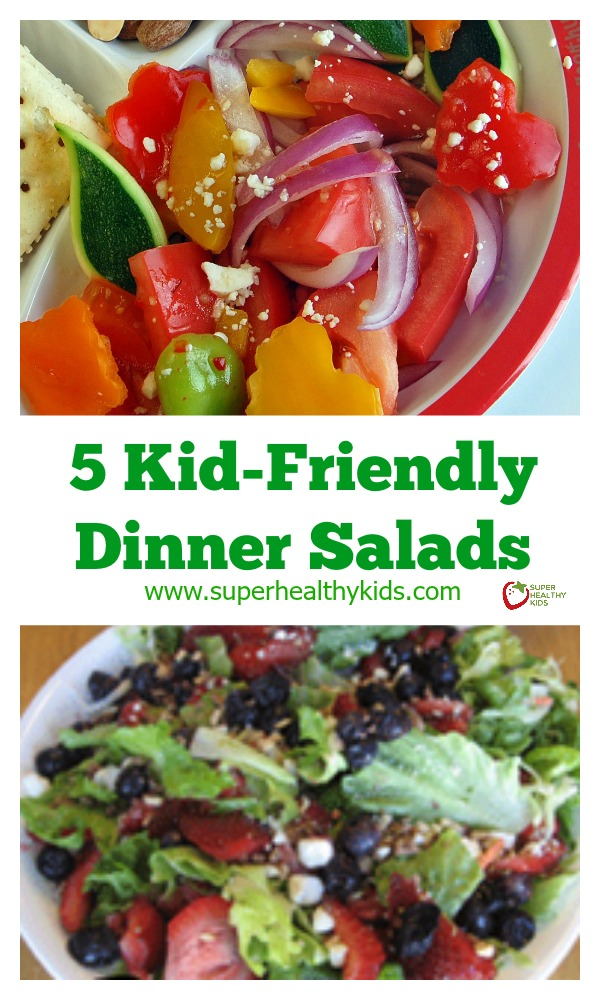 FOOD - Irresistible Kid Friendly Dinner Salads. These irresistible, kid friendly salads are the perfect side to any dinner! http://www.superhealthykids.com/5-kid-friendly-dinner-salads-so-you-can-lsquo-be-a-star-rsquo/