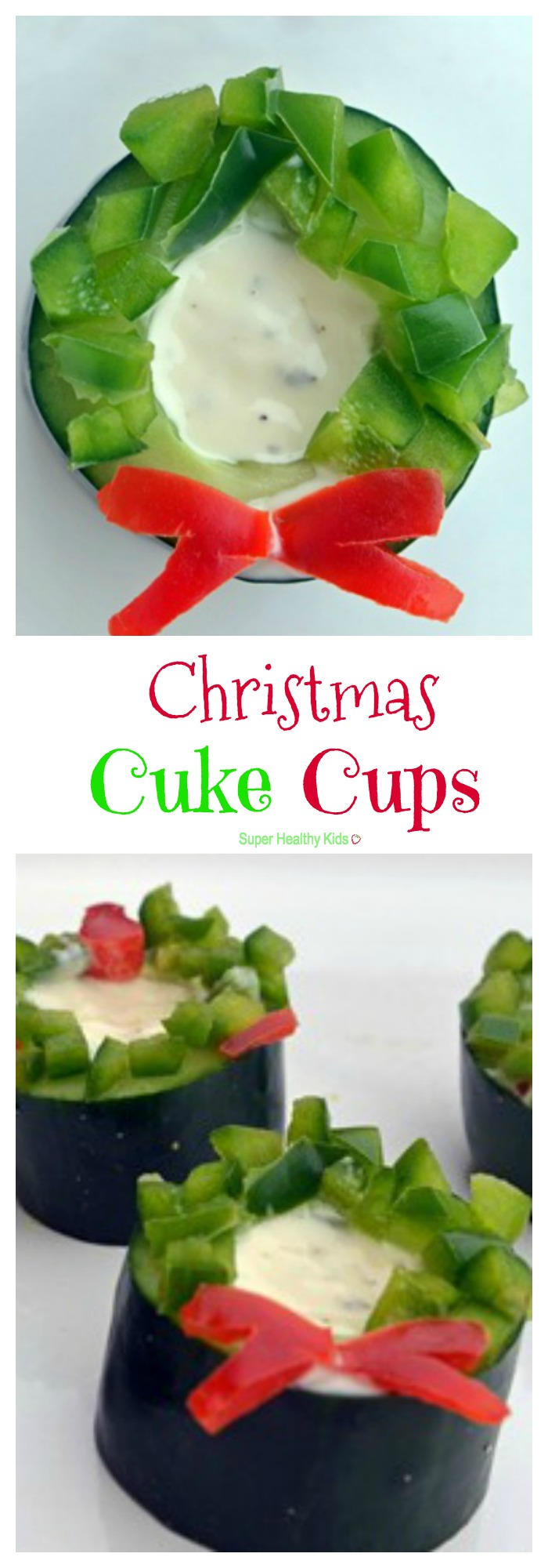 Christmas Cuke Cups. Veggies have never been so festive! http://www.superhealthykids.com/christmas-cuke-cups/