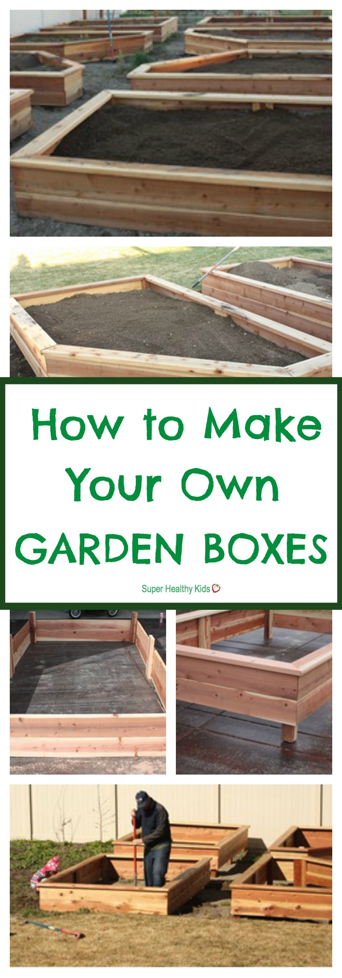 GARDENING - How to Make Your Own Garden Boxes. Everything you need to make this happen in your yard this year! http://www.superhealthykids.com/how-to-make-your-own-garden-boxes/