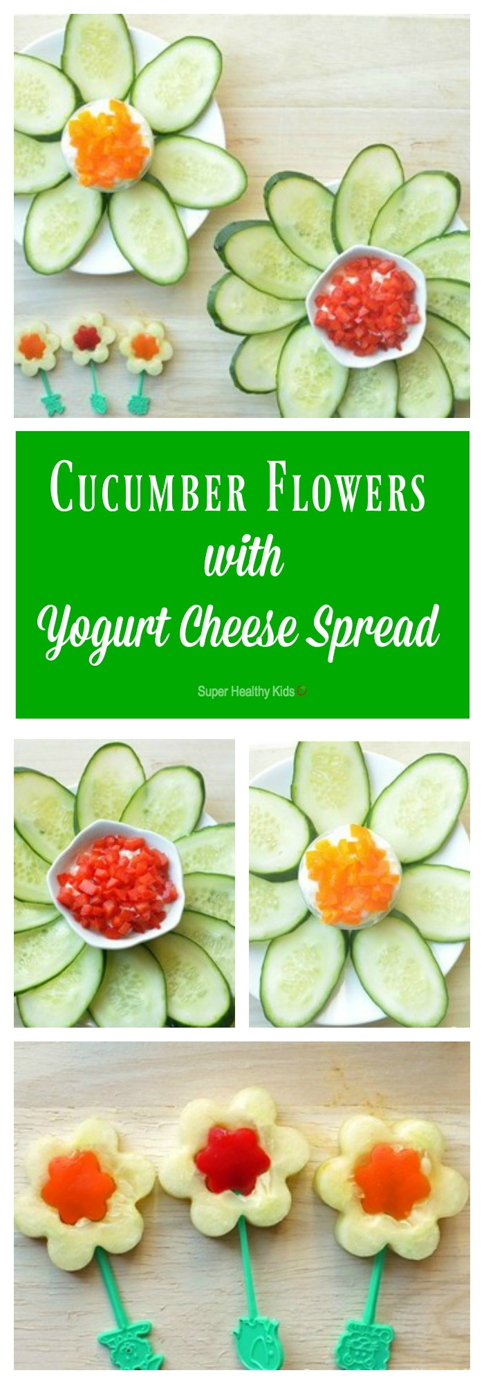 Cucumber flowers with pepper yogurt cheese spread. Strained yogurt makes a high protein dip, perfect for veggies like cucumbers! http://www.superhealthykids.com/cucumber-flowers-with-yogurt-cheese-spread/