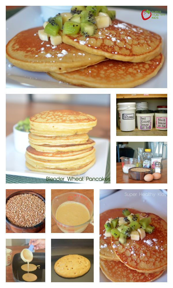 FOOD - Blender Wheat Pancakes Recipe with Kiwi and Bananas. Whole Wheat kernels create the fluffiest pancakes! http://www.superhealthykids.com/blender-wheat-pancakes-with-kiwi-and-bananas/