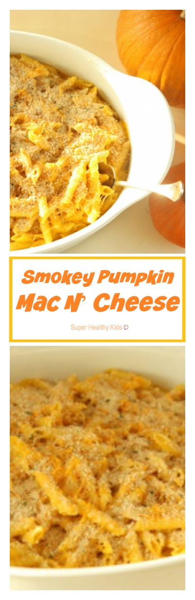 Smokey Pumpkin Mac N' Cheese Recipe. Not your regular mac & cheese. http://www.superhealthykids.com/smokey-pumpkin-mac-n-cheese/
