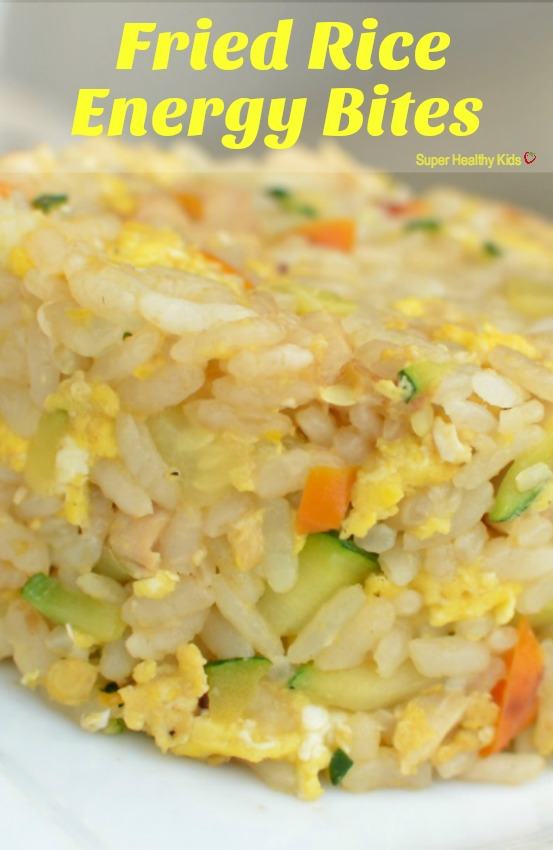 FOOD - Fried Rice Energy Bites. This dinner is our go-to on nights when I have hardly anything left in the fridge! http://www.superhealthykids.com/fried-rice-energy-bites/