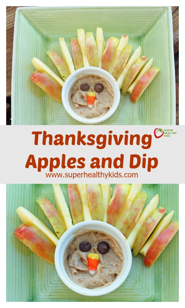 Thanksgiving Apples and Dip. Easy and festive! This appetizer is sure to be a crowd-pleaser! http://www.superhealthykids.com/thanksgiving-apples-and-dip/