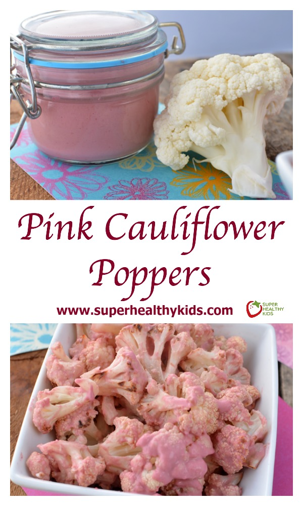 FOOD - Pink Cauliflower Poppers. Blast cauliflower like a pro with this recipe! http://www.superhealthykids.com/pink-cauliflower-poppers/