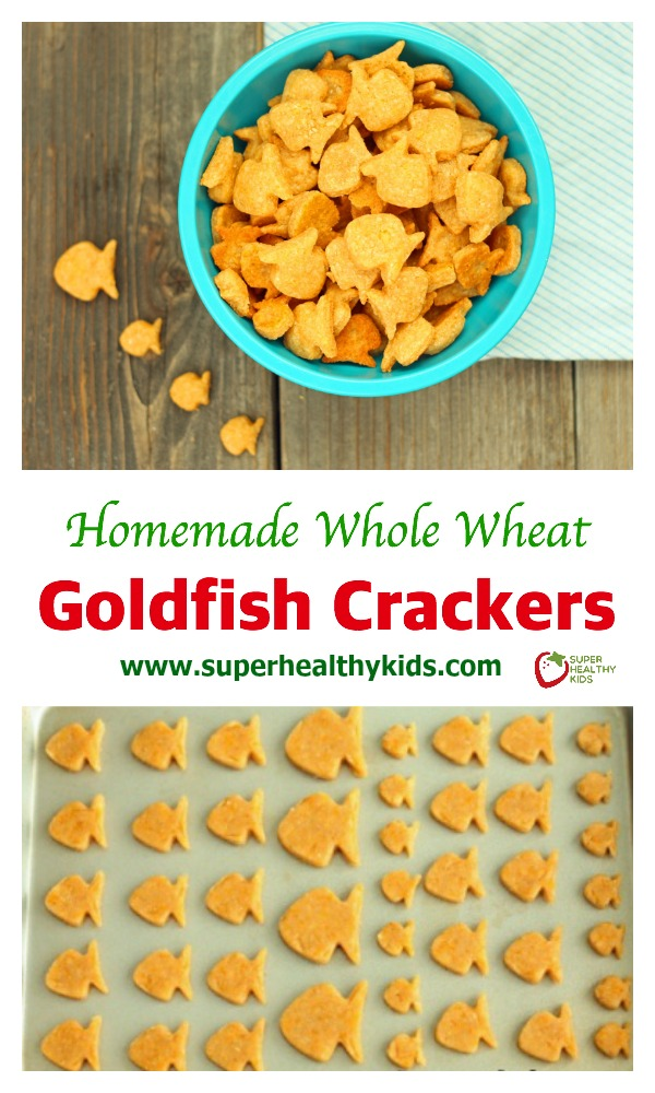 FOOD - Homemade Whole Wheat Goldfish Crackers Recipe. Homemade goldfish! Don't you just love these little fish cutters? www.superhealthykids.com/whole-wheat-goldfish-crackers