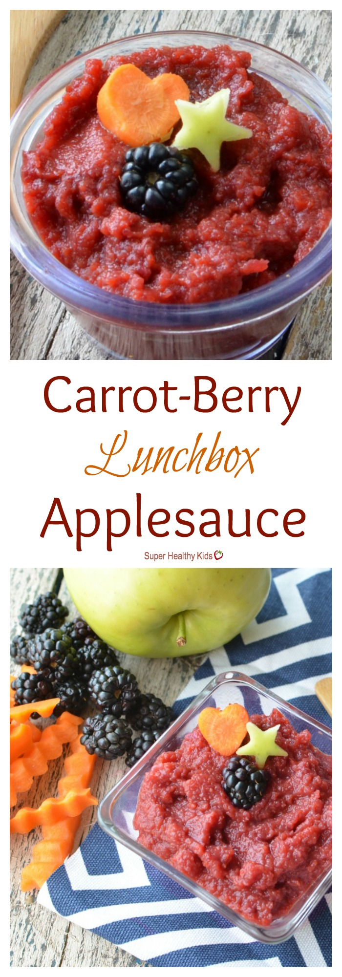 FOOD - Carrot-Berry Lunchbox Applesauce. Combining fruits AND veggies in this favorite lunch box food! http://www.superhealthykids.com/carrot-berry-lunchbox-applesauce/