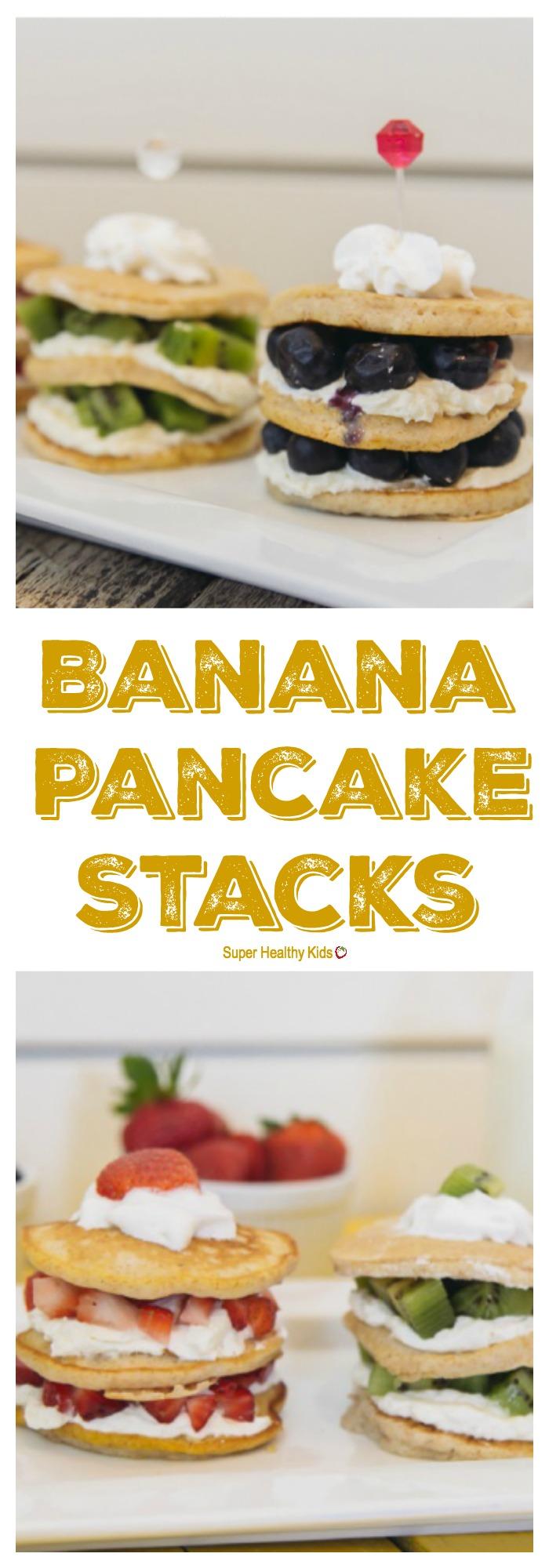 FOOD - Banana Pancake Stacks. These pancake stacks make the perfect birthday (or any day) breakfast! http://www.superhealthykids.com/banana-pancake-stacks/