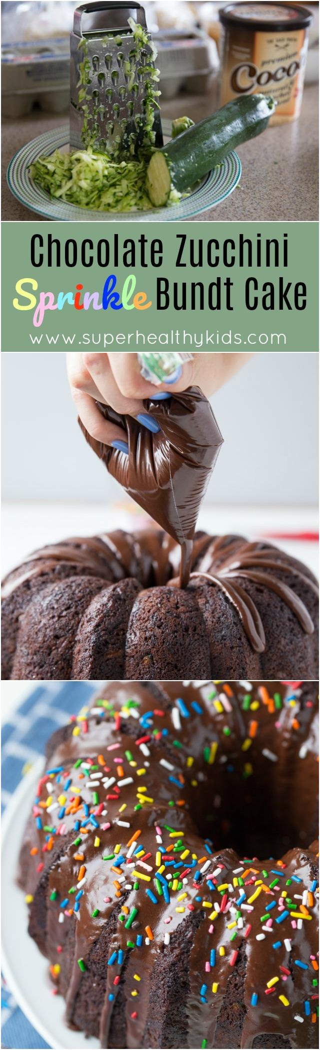 Chocolate Zucchini Sprinkle Bundt Cake