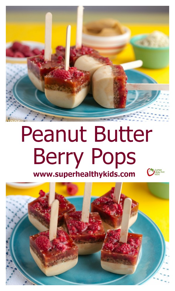 FOOD - Frozen Peanut Butter Berry Pops. PB & J Popsicles! The tastiest way to enjoy a perfect combination! http://www.superhealthykids.com/frozen-peanut-butter-jelly/