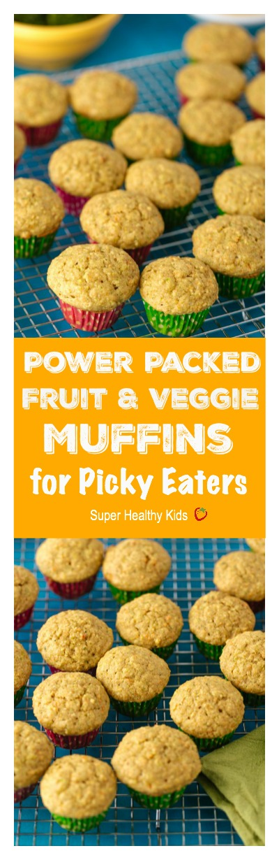 Power Packed Fruit and Veggie Muffins for Picky Eaters. Our most popular muffin because it has veggies inside! We have these ready to go on school mornings.