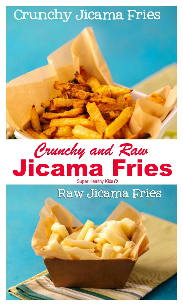 FOOD - Jicama Fries. Easy, no-bake, raw fries! We love this snack because it's easy PLUS it's good for kids. http://www.superhealthykids.com/quick-and-easy-snack-jicama-fries/
