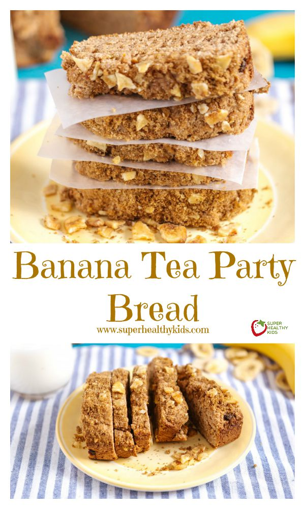 FOOD - Banana Tea Party Bread. Short on ingredients, but super high in flavor- check out this version of our banana bread makeover! http://www.superhealthykids.com/banana-tea-party-bread/