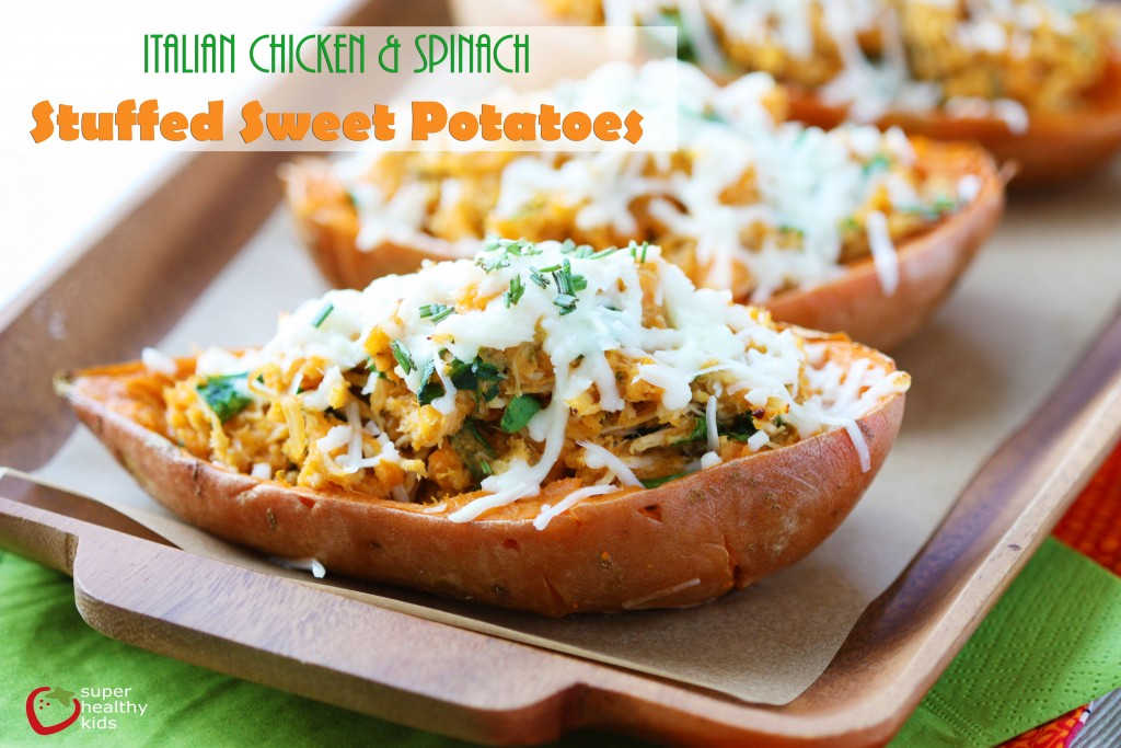 Italian Chicken and Spinach Stuffed Sweet Potato Recipe. A complete meal, packed inside a kids very own sweet potato!