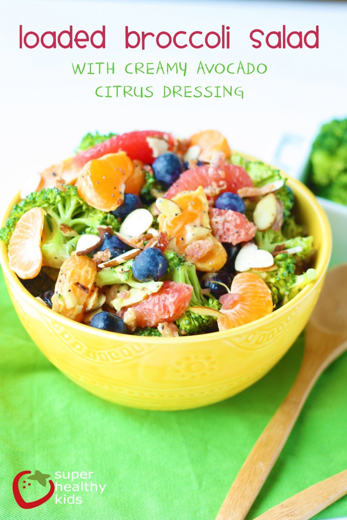 Loaded Broccoli Salad Recipe with Creamy Avocado Citrus Dressing. Anytime you could make your dressing creamier, you should use this!