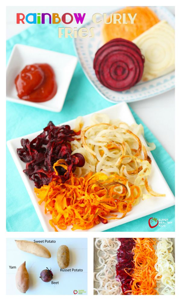 FOOD - Rainbow Curly Fries. A great side for any meal or an afternoon snack! http://www.superhealthykids.com/rainbow-curly-fries/