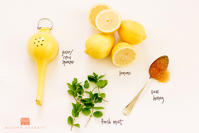 Lemonade with Raw Honey and Mint Ice Cubes. Stay hydrated with this delicious lemon drink!