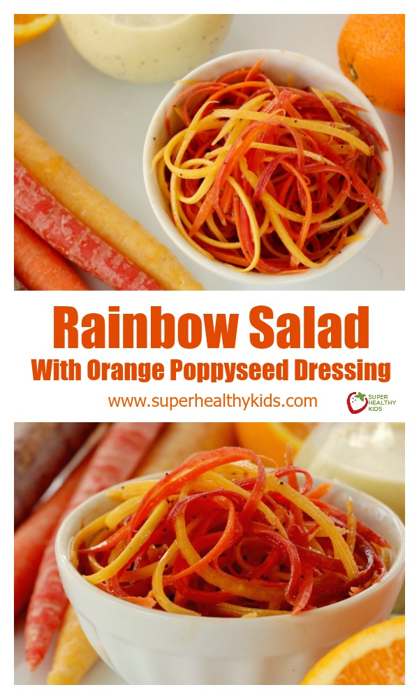 Rainbow Salad With Orange Poppyseed Dressing. How do I get my kids to eat veggies? This salad is the solution to the problem!