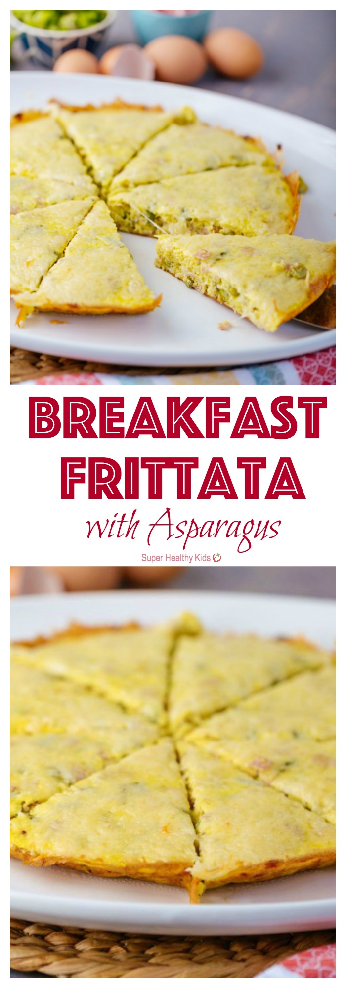 Breakfast Frittata with Asparagus. The perfect breakfast for a lazy Sunday morning! http://www.superhealthykids.com/breakfast-frittata-with-asparagus/