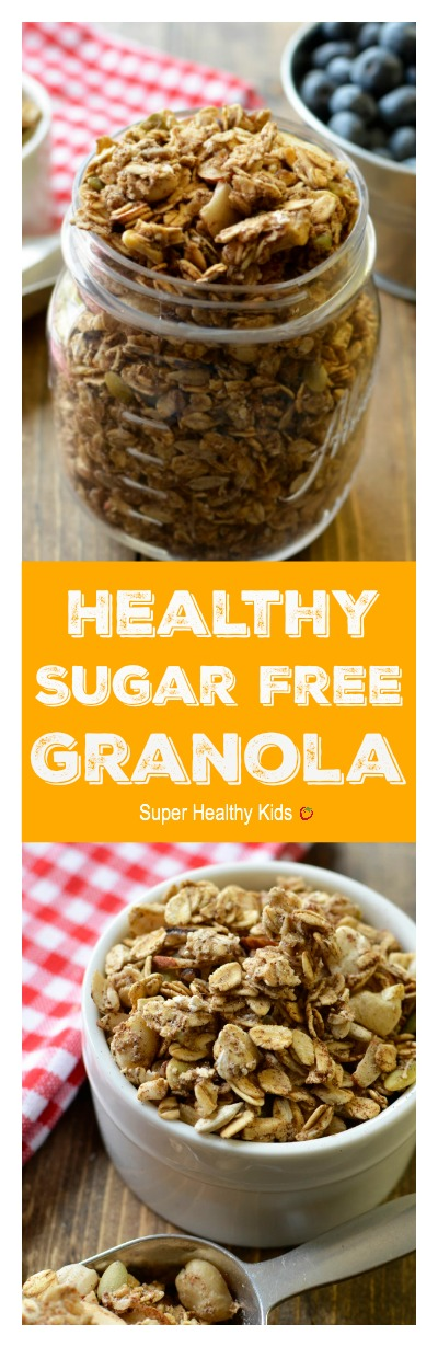 Healthy Sugar Free Granola. We were able to get this granola crunchy, even without adding any sugar at all!