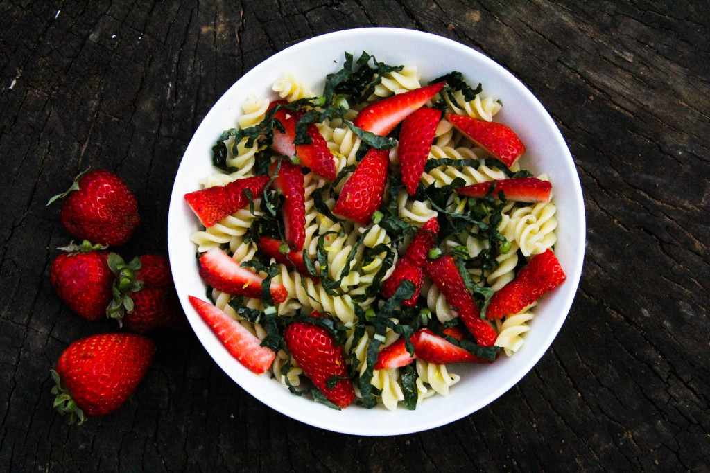 Strawberry and Kale Pasta Salad. This pasta salad is perfect for a quick lunch or dinner on those busy days!
