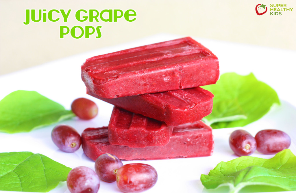 Juicy Grape Pops. Made with only grapes, these are refreshing, packed with vitamin C, and perfect for a thirst quenching treat.