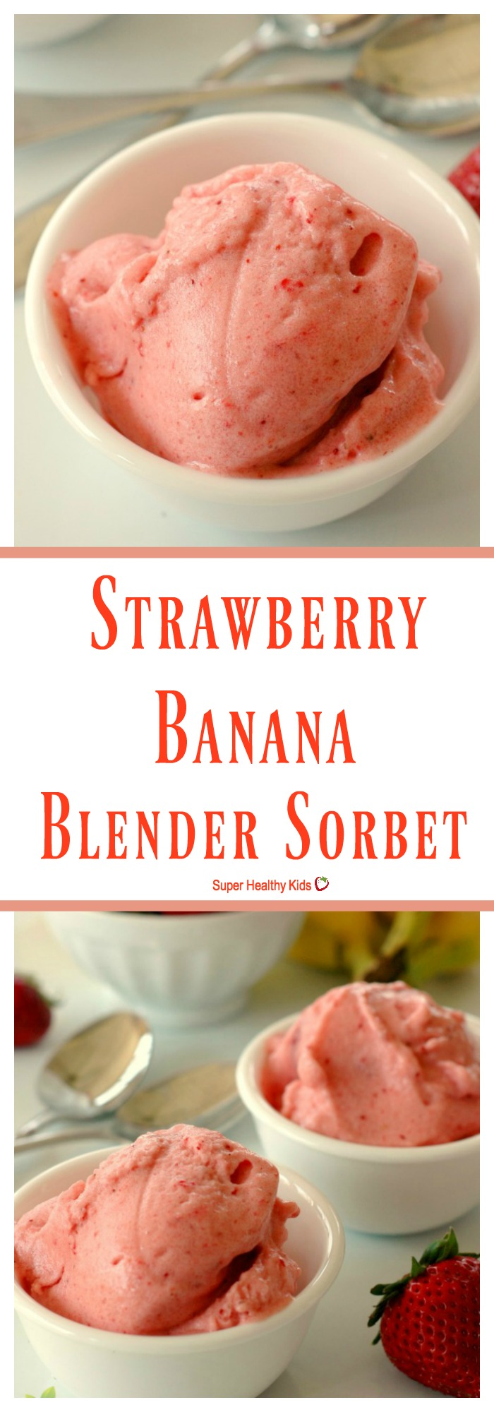 FOOD - Strawberry Banana Blender Sorbet. Give your kids a treat without the refined sugar and boost their immunity! http://www.superhealthykids.com/strawberry-banana-blender-sorbet/