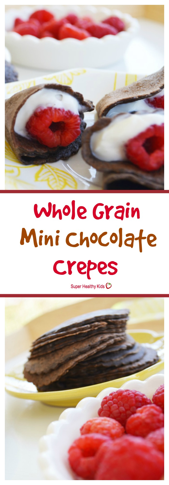 FOOD - Whole Grain Mini Chocolate Crepes. If your kids like chocolate, you can serve it up for breakfast! http://www.superhealthykids.com/whole-grain-mini-chocolate-crepes/