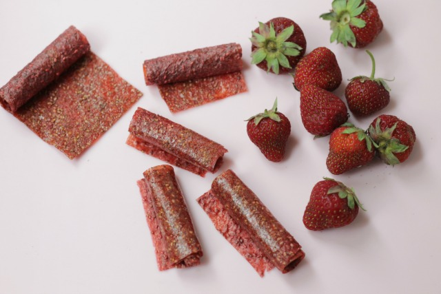 Strawberry Chia Fruit Leather Recipe. This is a super yummy treat with the added nutrition of chia seeds!