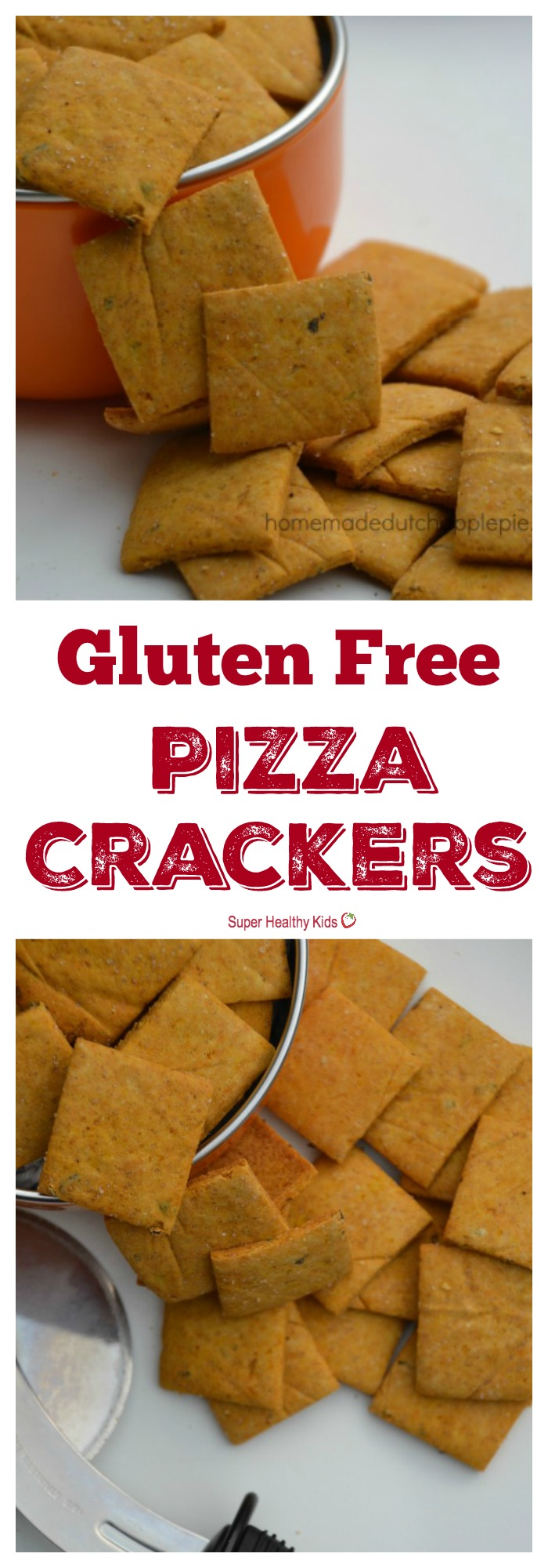 FOOD - Gluten Free Pizza Crackers. Fun and easy gluten free pizza crackers that are allergen friendly, filled with vegetables and perfect for picnics and on-the-go snacks. http://www.superhealthykids.com/gluten-free-pizza-crackers/