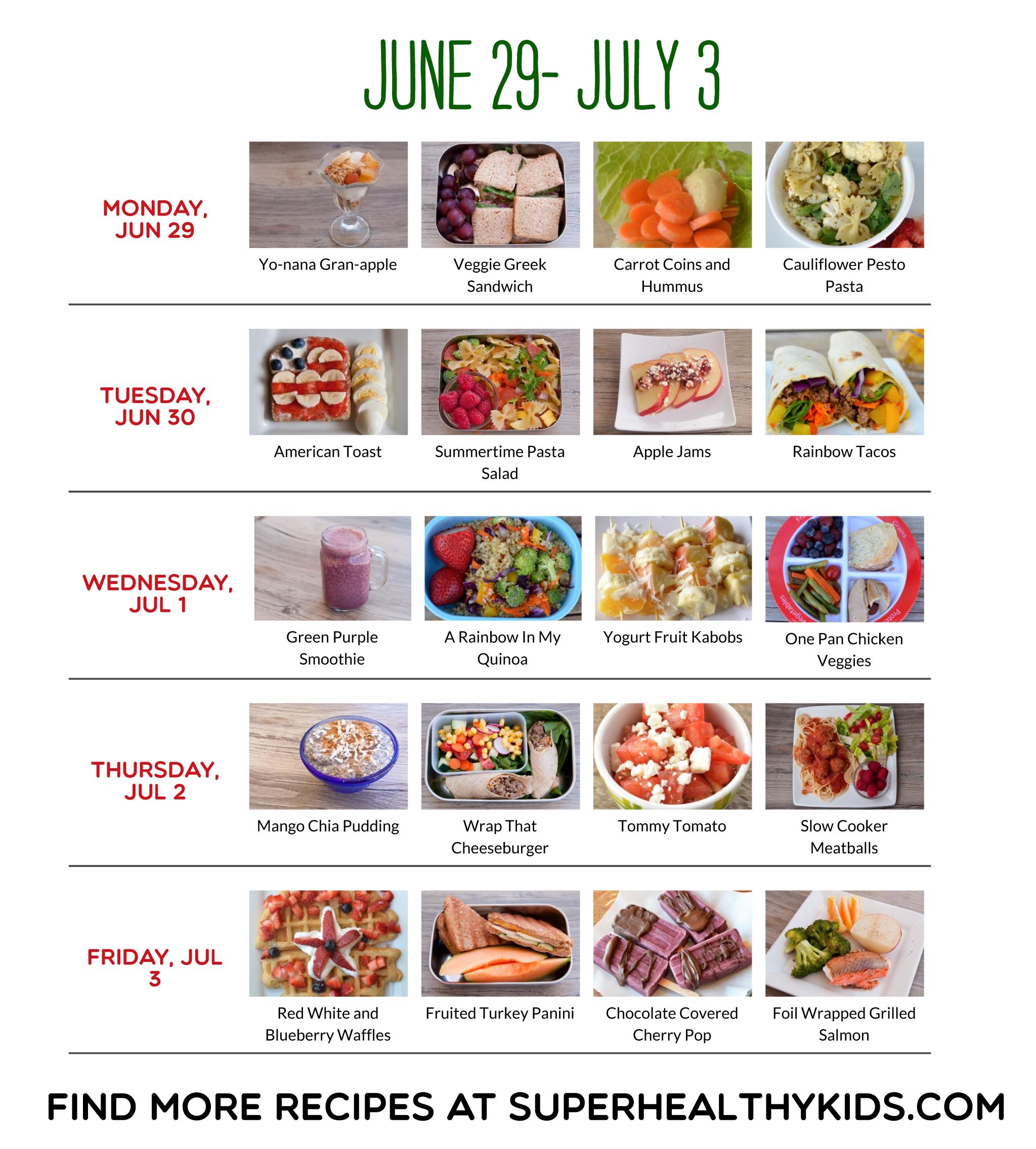 June 29-July 3 sample meal plan