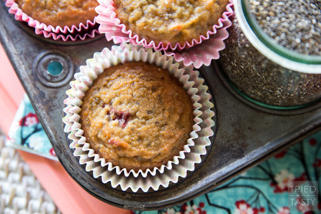 COCONUT STRAWBERRY CHIA MUFFINS!  The most delicious healthy breakfast that kids and adults alike will fall in love with! So tasty, you'll want one for dessert too!  www.superhealthykids.com