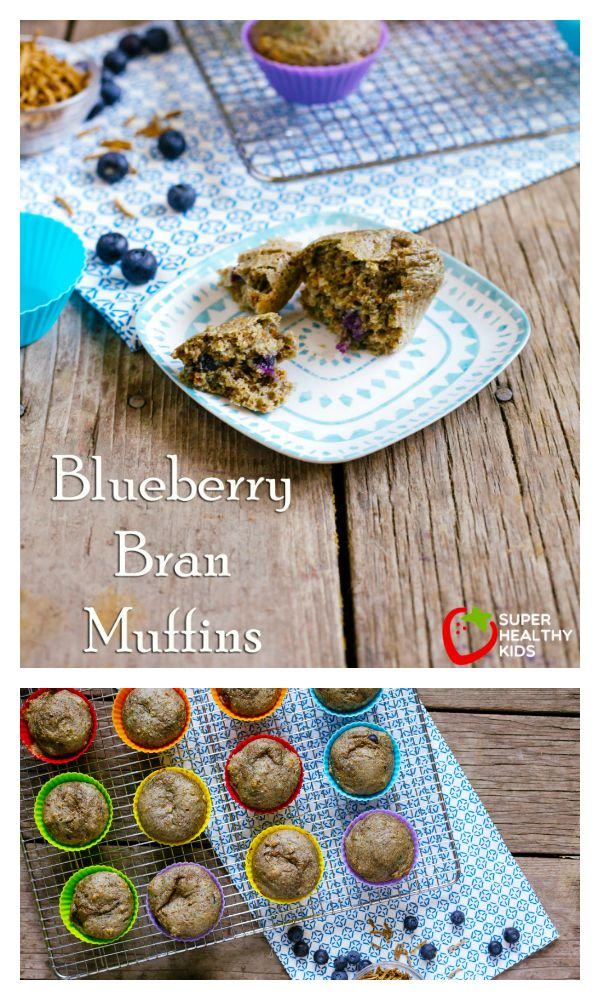 FOOD - Blueberry Bran Muffins. Packed with nutrition and delicious flavor. http://www.superhealthykids.com/bran-blueberry-muffins/