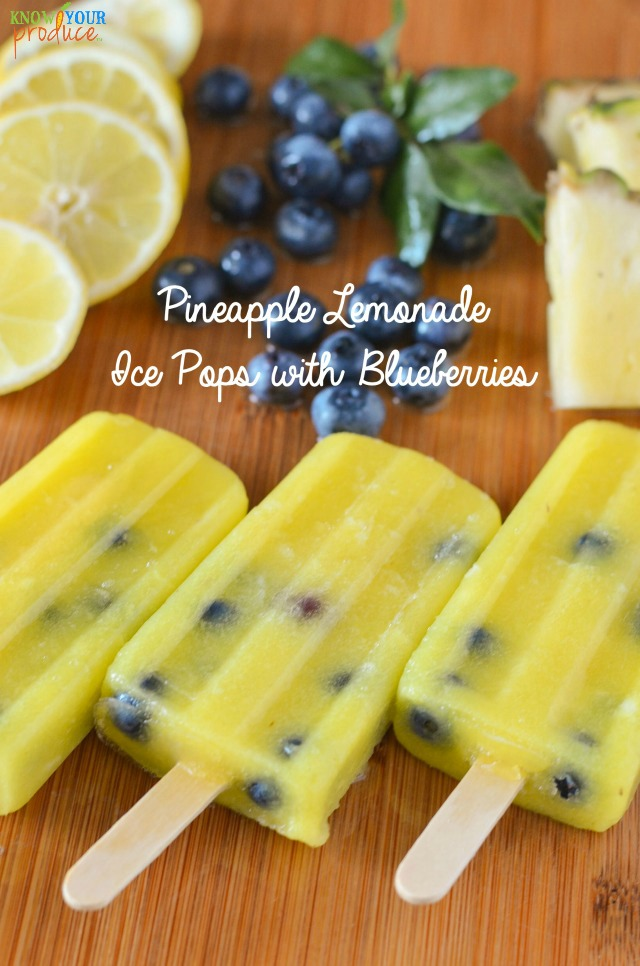 Pineapple Lemonade Ice Pops with Blueberries. Super refreshing with an ...