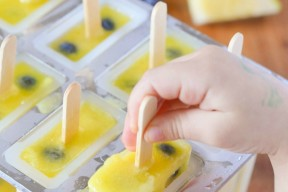 Pineapple Lemonade Ice Pops with Blueberries