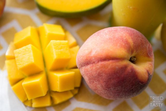 Peach Mango Freeze, the perfect refreshing summertime slushee made without any refined sugar!