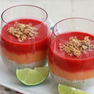 Raspberry Peach Chia Bowls