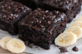 This lightened up chocolate cake has no oil, uses bananas and applesauce to keep it moist, and has just the right amount of chocolate to make it feel like an indulgent treat. No frosting required!