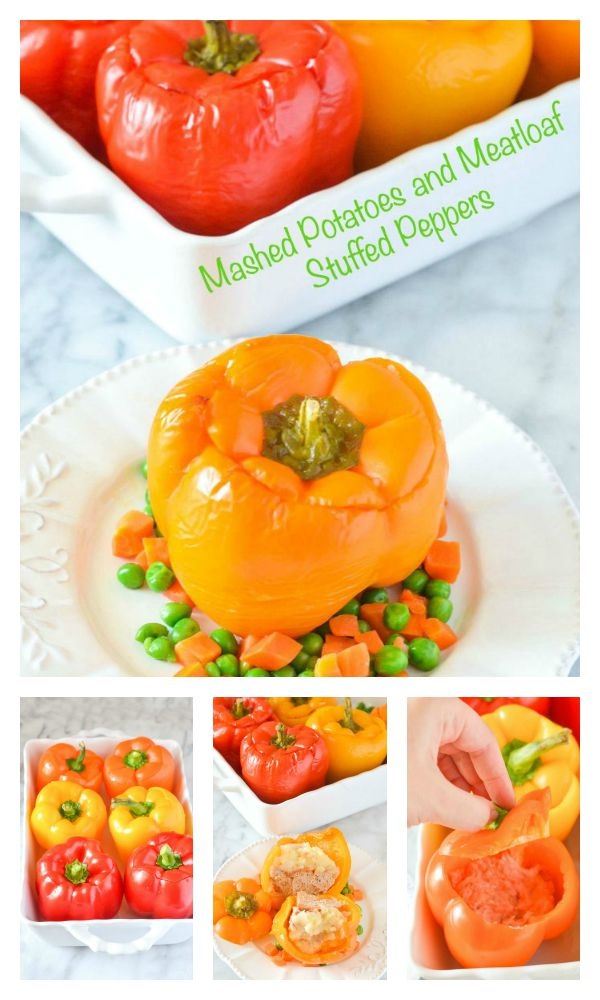 FOOD - Mashed Potatoes and Meatloaf Stuffed Pepper. A savory comforting all-in-one dinner! http://www.superhealthykids.com/mashed-potatoes-meatloaf-stuffed-peppers/