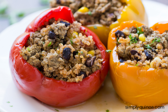 Crockpot Stuffed Peppers - made with Mexican quinoa, ground beef and cheddar cheese!