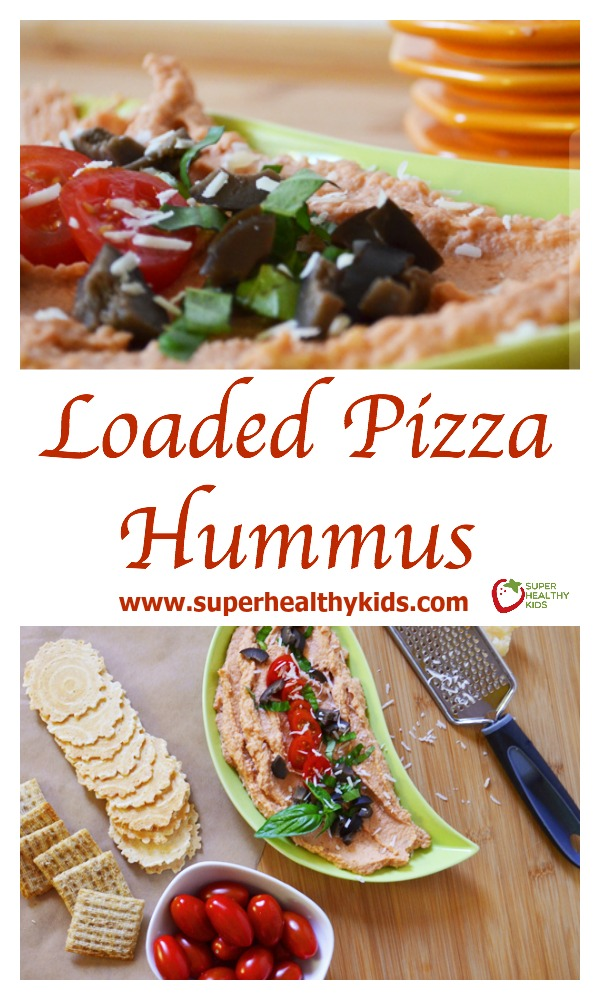 FOOD - Loaded Pizza Hummus. Perfect for snacking or a perfect savory party food! http://www.superhealthykids.com/loaded-pizza-hummus/