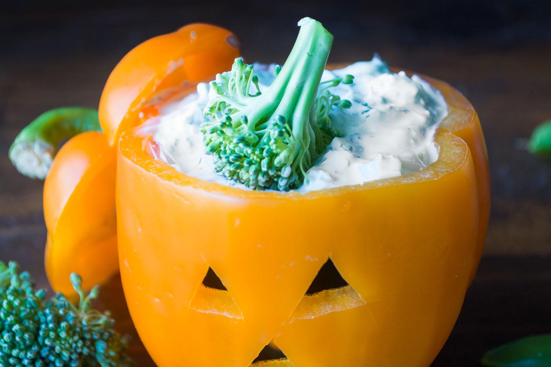 Bell Pepper Jack-O-Lantern Veggies And Ranch Dip   Healthy Ideas ...