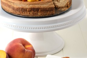 This delicious peach cheesecake is gluten free, lightened up with greek yogurt, and made with no refined sugar. Dessert you can feel good about feeding to your kids!