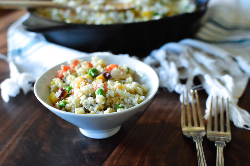 One-Skillet Fried Cauliflower Rice. Fried Rice without the Rice?!? You will love what we used instead! www.superhealthykids.com