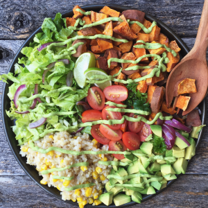 Taco Bowl with Avocado Lime Dressing