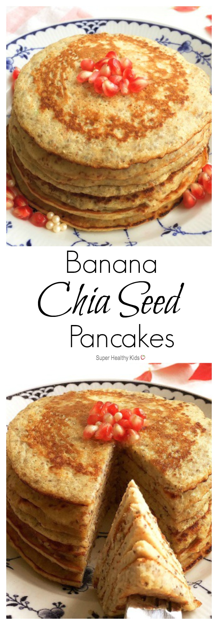 Banana Chia Seed Pancakes. Naturally sweet and filled with antioxidants, fiber, and protein! http://www.superhealthykids.com/banana-chia-seed-pancakes/