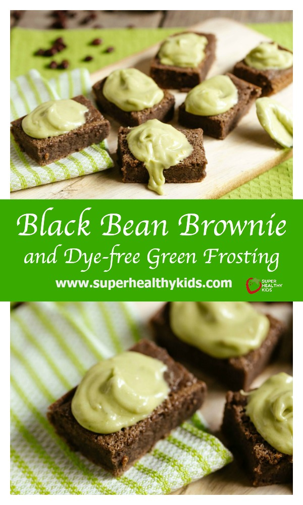 FOOD - Black Bean Brownie and Dye-free Green Frosting. Have you tried black bean brownies yet? Our recipe with dye free green frosting is a great one to start with if you haven't made them yet! www.superhealthykids.com/black-bean-brownies-and-dye-free-green-frosting