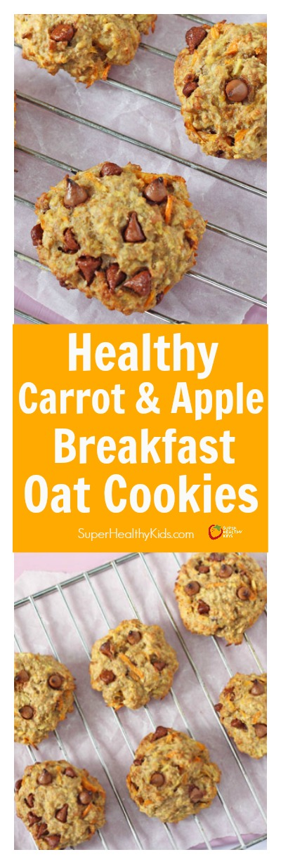 FOOD - Healthy Carrot & Apple Breakfast Oat Cookies. Healthy oat breakfast cookies made with both fruits and veggies! No added sugar and perfectly delicious for an on the go breakfast! http://www.superhealthykids.com/healthy-carrot-apple-breakfast-oat-cookies/