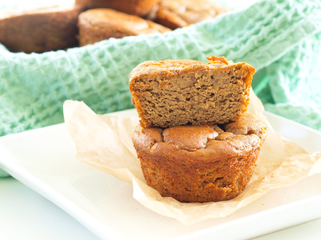 These Sweet Potato Blender Muffins are made with NO flour, NO oil, and NO refined sugar. Just 5 minutes prep time makes this an easy, healthy breakfast recipe!