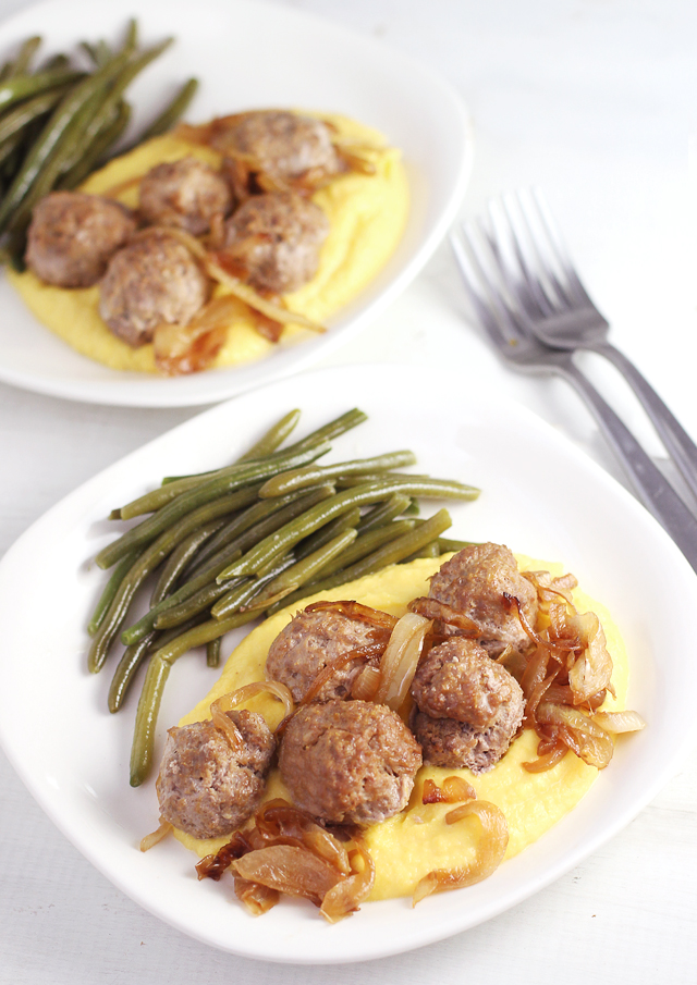 Rosemary Squash Meatballs - Simple baked meatballs with squash added for nutrition, and as a gluten free filler. Served with a squash puree for dipping, to double up on the squash goodness.